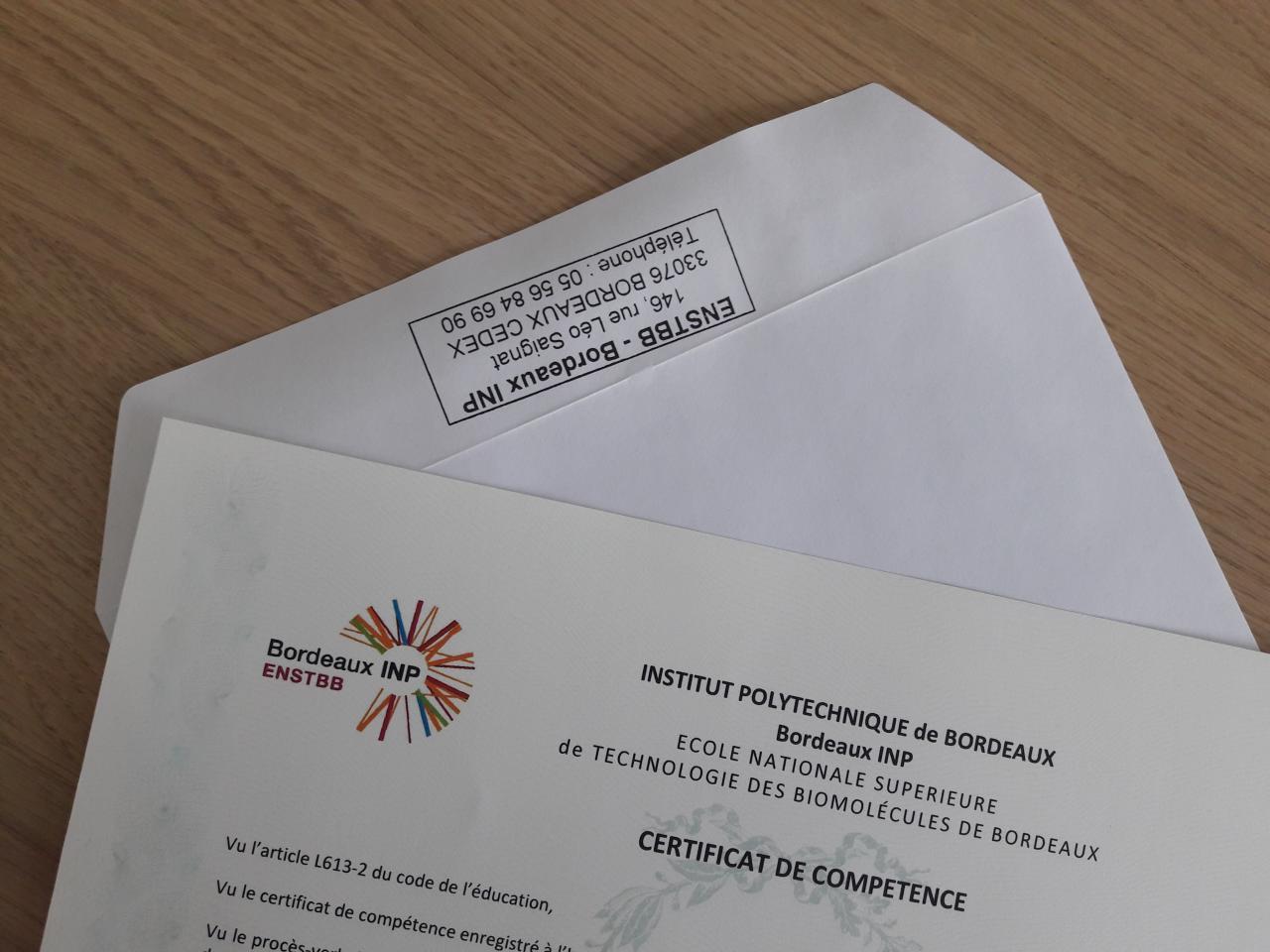 Nouvelle promotion de certifiés à l'ENSTBB !